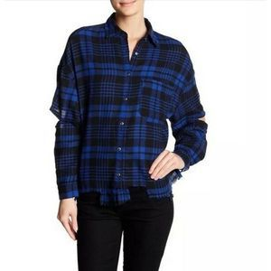 Lush Elbow Cutout Distressed Plaid Flannel Top